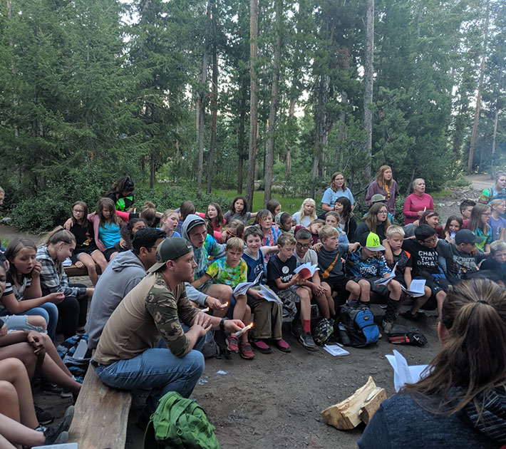 Campfire with group of kids.