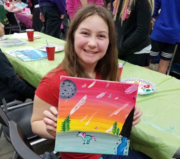 Showing unicorn art for crafts time