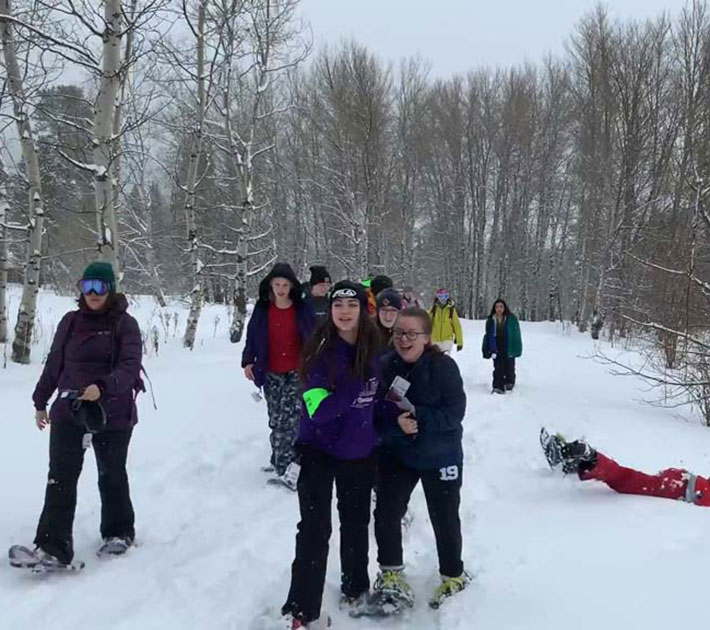 Snowshowing at winter camp