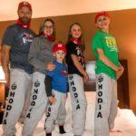 Bauer Family wearing matching Hodia sweatpants